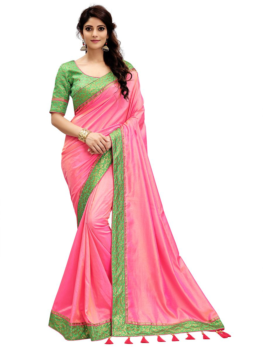 Monjolika Pink Silk Saree