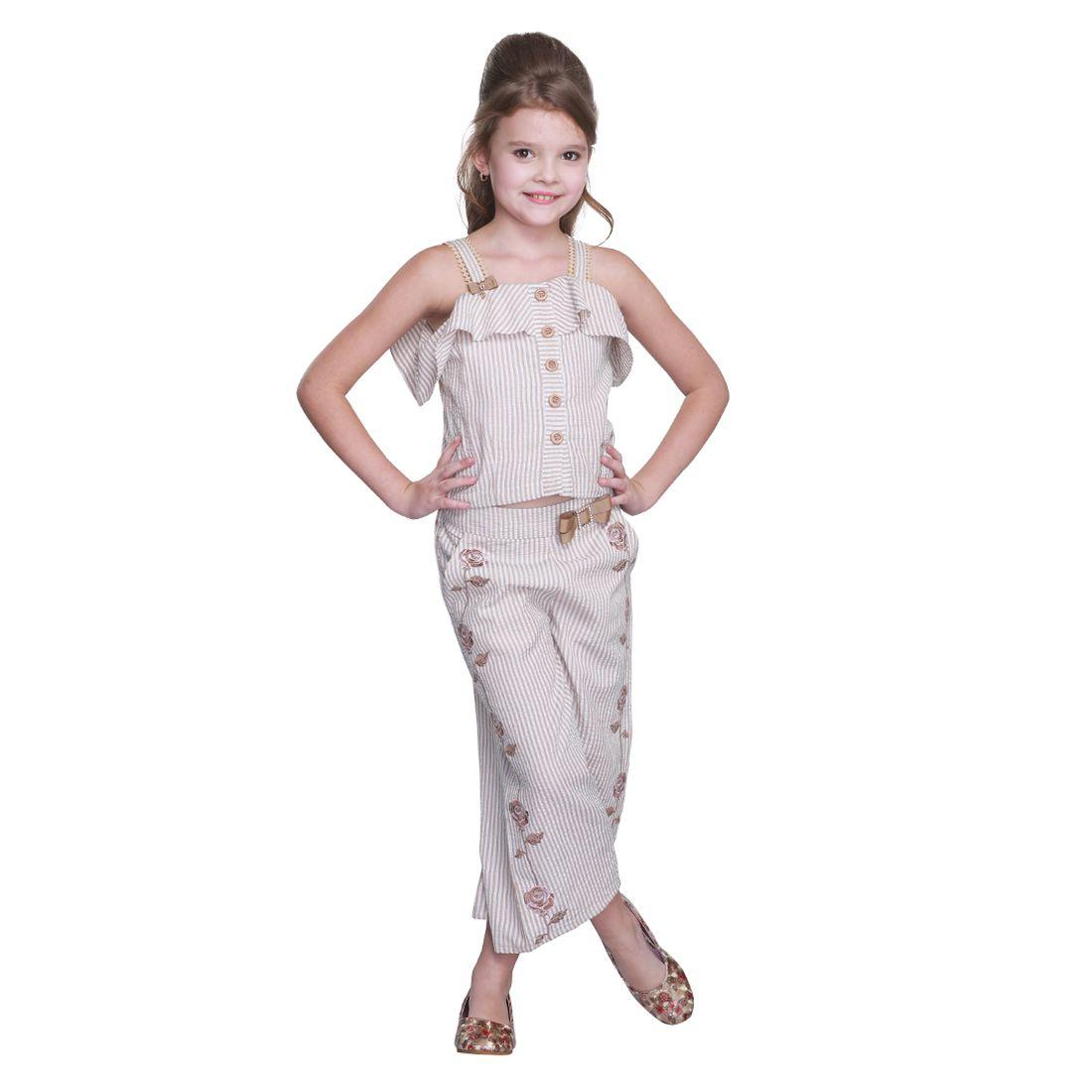 Cutecumber Girls Partywear Polycotton Top with Polycotton Palazzo