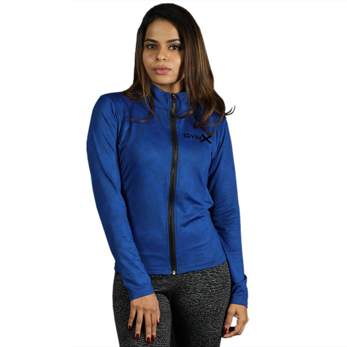 GymX Womens Royal Blue Full Zip Jacket- Athena Series(Size:XX-Large)