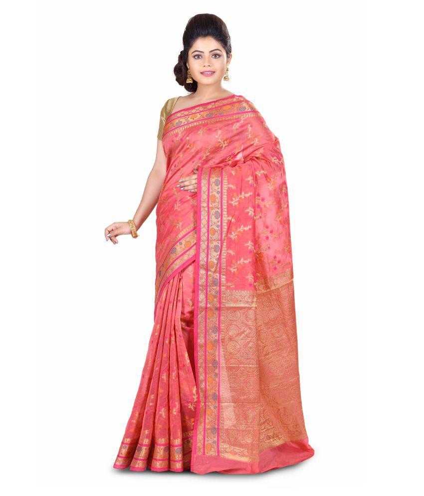 Bunkar Pink Chanderi Saree
