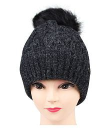 Quick View. Bongio winter women s Black Woolen cap 88a3b4e21a