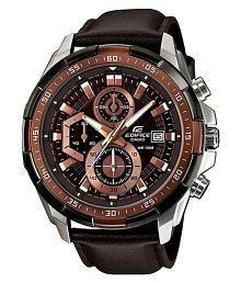 Men Fashion EX194 Brown Leather Chronograph Watch