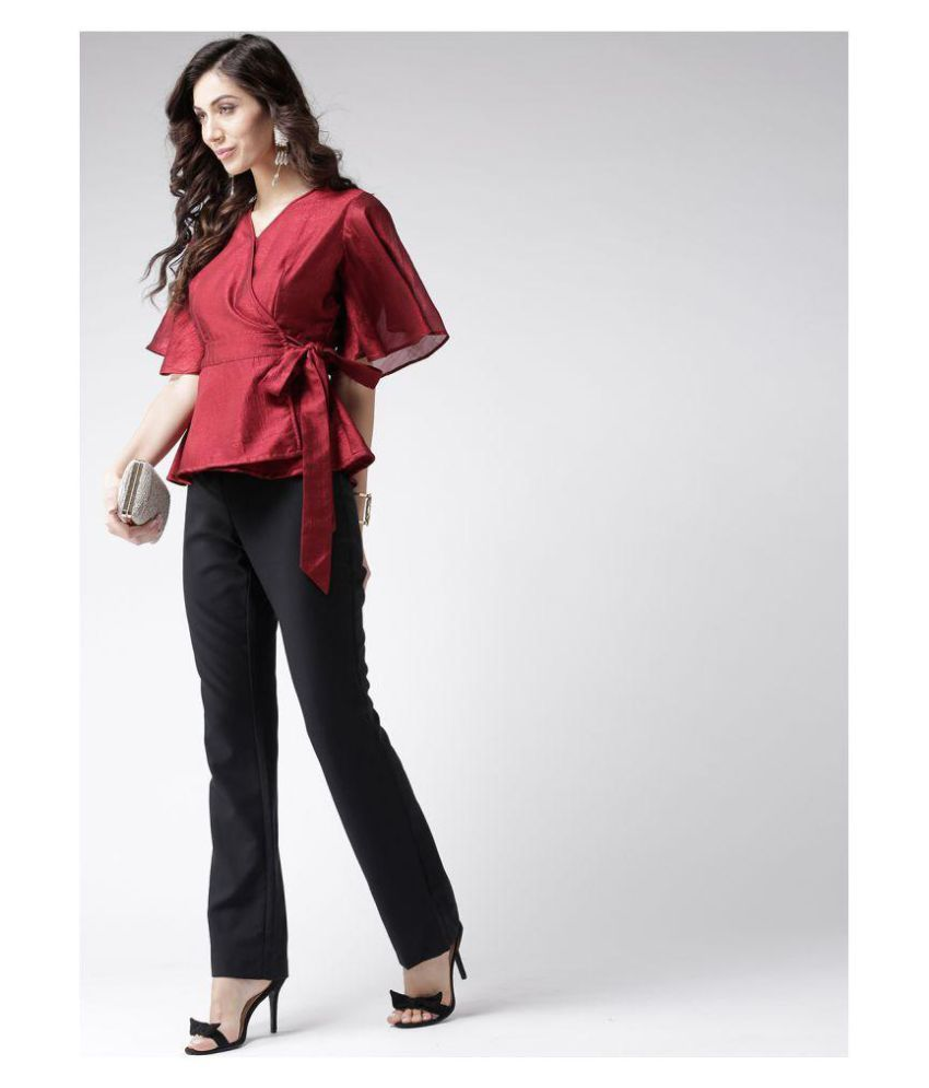 7e4ac01e15d20d Pinwheel Silk Wrap Tops - Red - Buy Pinwheel Silk Wrap Tops - Red Online at  Best Prices in India on Snapdeal