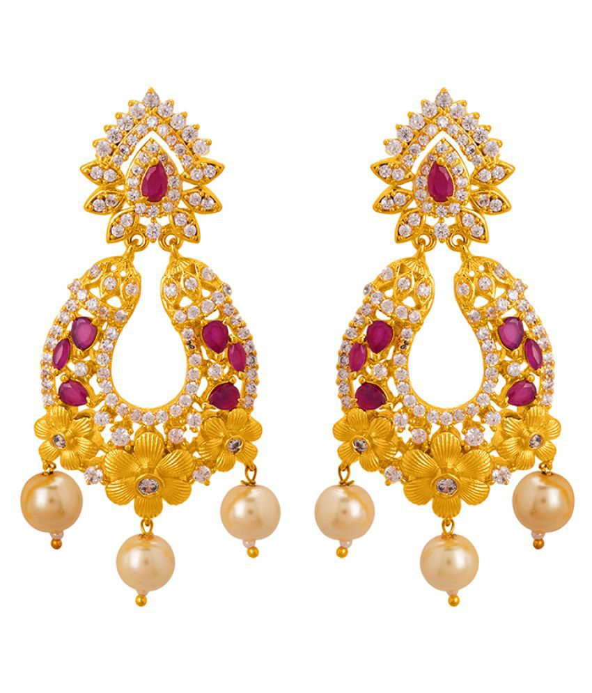 Voylla CZ Studded Floral Ethnic Drop Earrings