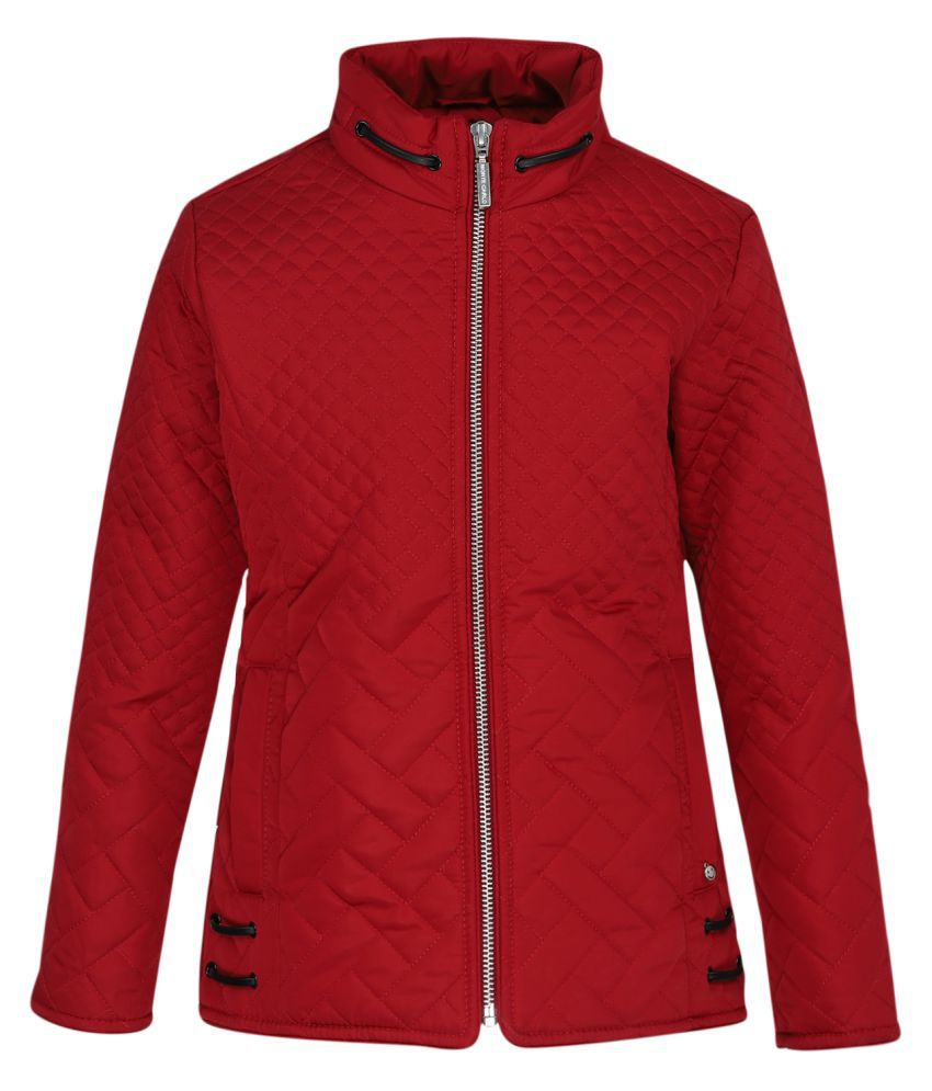 Monte Carlo Red Solid Polyester Polo Collar Jackets