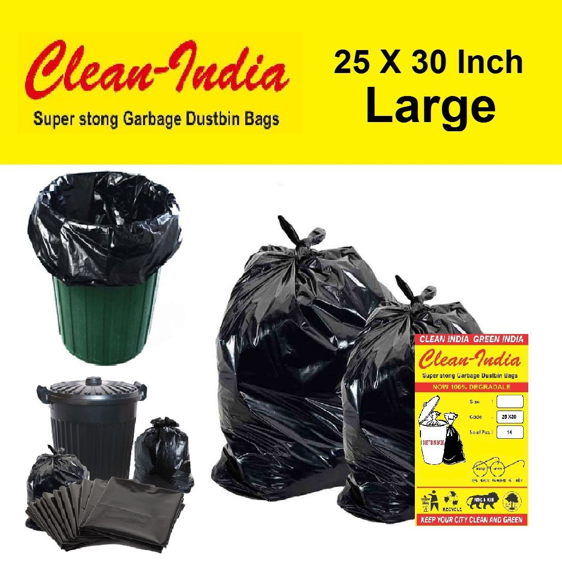 C-I Large 42 pcs - 25X30 Black Disposable Garbage Trash Waste Dustbin Bags of 63cm x 76cm | Pack of 3 X 14 pcs= total 42 pcs