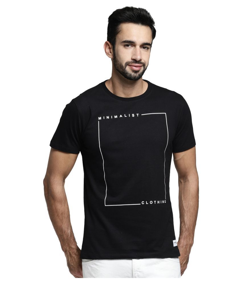 MINIMALIST CLOTHING Black Half Sleeve T-Shirt Pack of 1