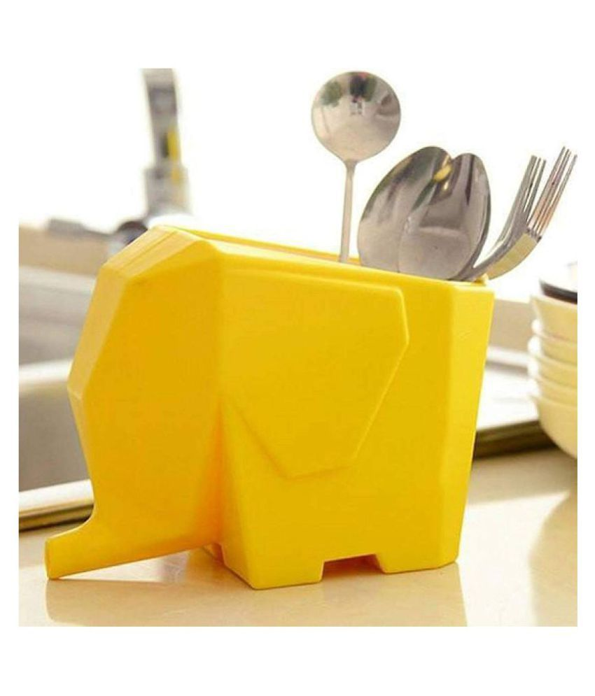 Multi-use high Quality ABS Plastic Kitchen/Bathroom/Washroom/Plant Flower Pot Elephant Shape with Water Drain Hole (Yellow)