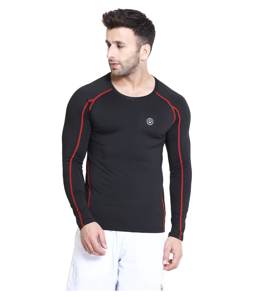 CHKOKKO Rider Compression Full Sleeve Plain Athletic Fit Multi Sports Badminton, Gym Streachable Sports Tshirts for Men
