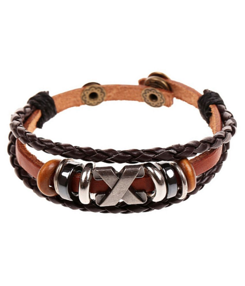 YOLO Fashion Brown Beaded Leather Men's And Women's Bracelet Jewellry Accessories