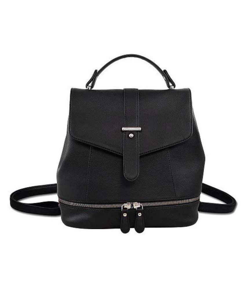 Lychee Bags Black P.U. Backpack