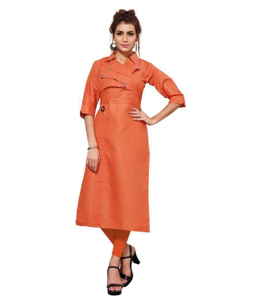 Shree Fashion Orange Cotton Straight Kurti
