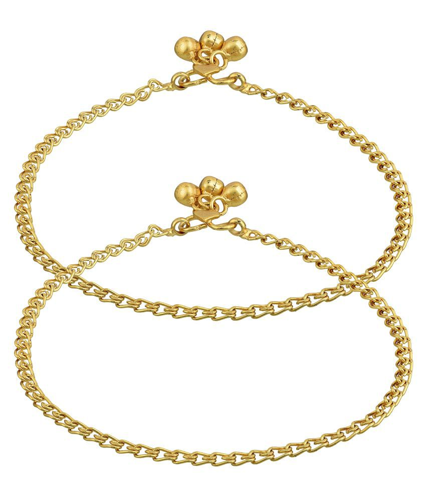 Gold Plated Brass, Linking Chain Design, Traditional Payal, Pajeb, Anklet Women Ethnic