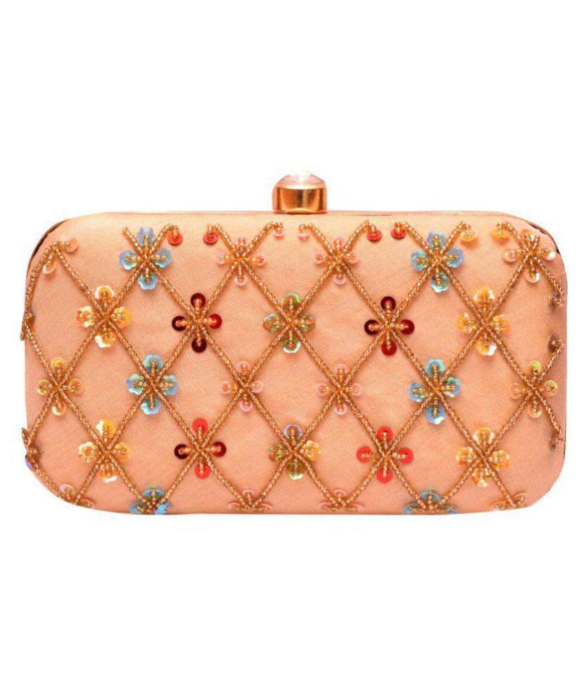 Duchess Beige Fabric Box Clutch