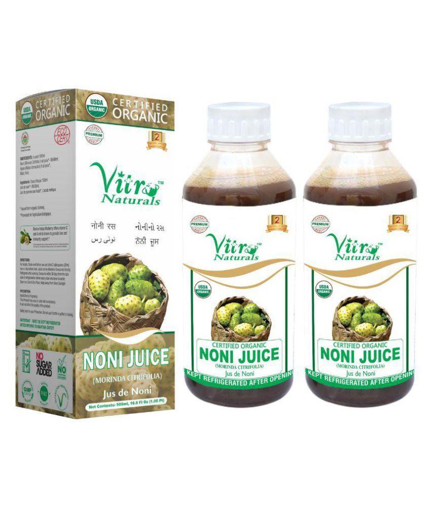 Vitro Naturals Certified Organic Noni Juice Liquid 500 ml Pack Of 2