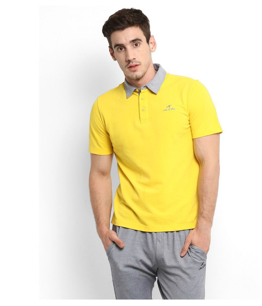 Alcis Yellow Cotton Blend Polo T-Shirt Single Pack
