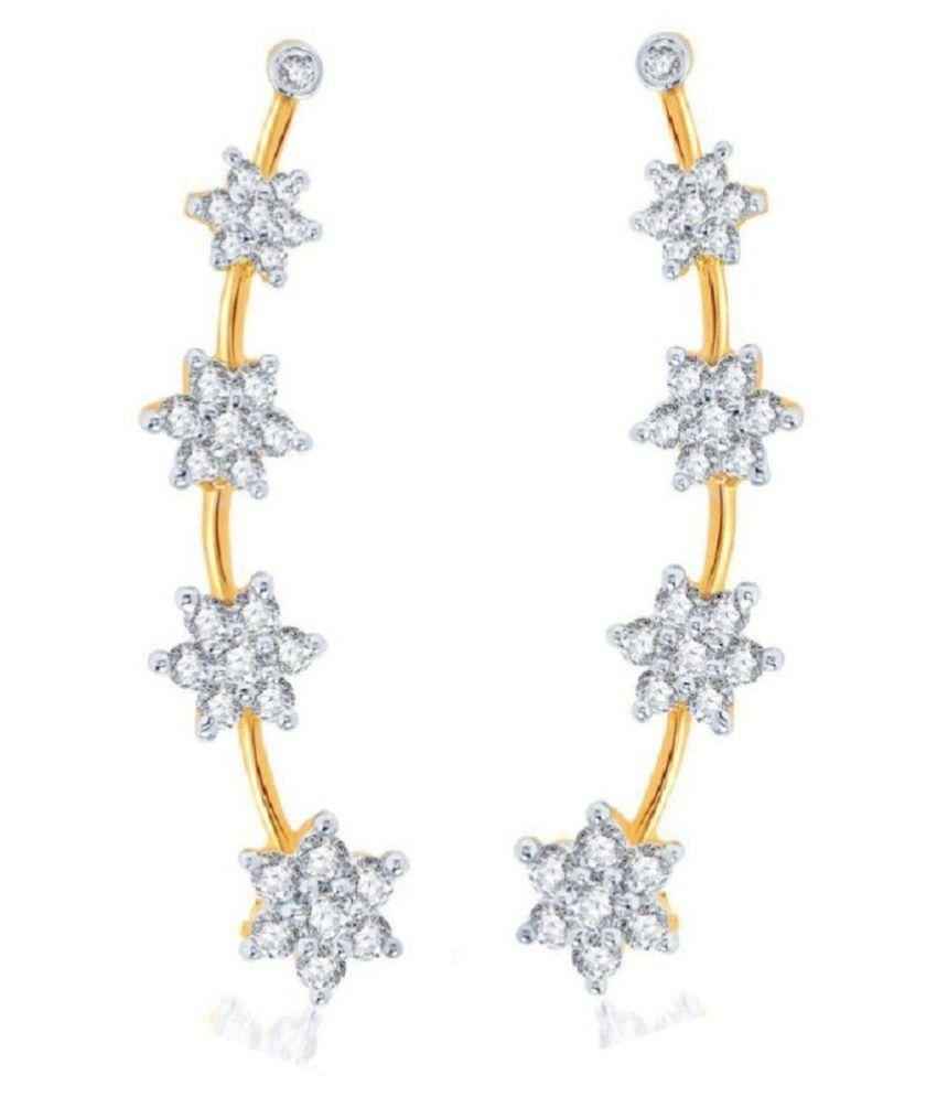 Embroco Gold Plated American Diamond Earrings Beautiful Star Shape Earcuff Fashionable Designer Jewelry