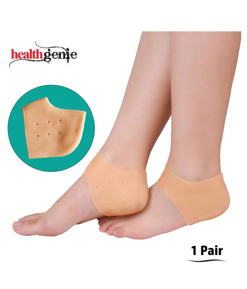 best price factory outlets on feet shots of Healthgenie Silicone Gel Heel Pad Socks With Apple Fragrance For Pain  Relief;Dry;Hard or Cracked Heels