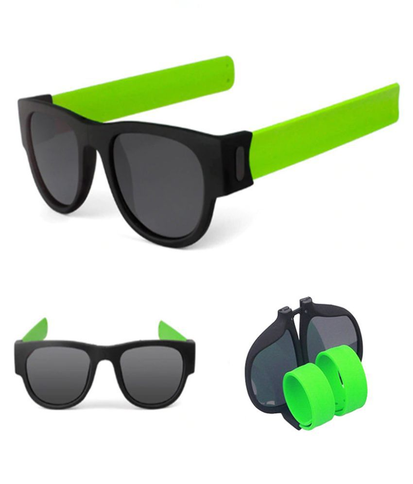 YOLO Green Modern Protable Wrist Sunglasses New Clap Ring Foldable Outdoor Cool Beach Sun Glasses For Men Women