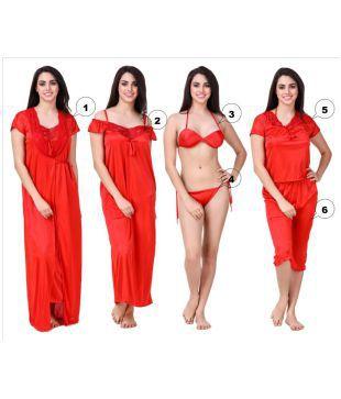 313772108f TWO DOTS Women Satin Night with Robe 2Pc Nightwear Set Ansh Fashion Wear  Women Nighty(Purple)