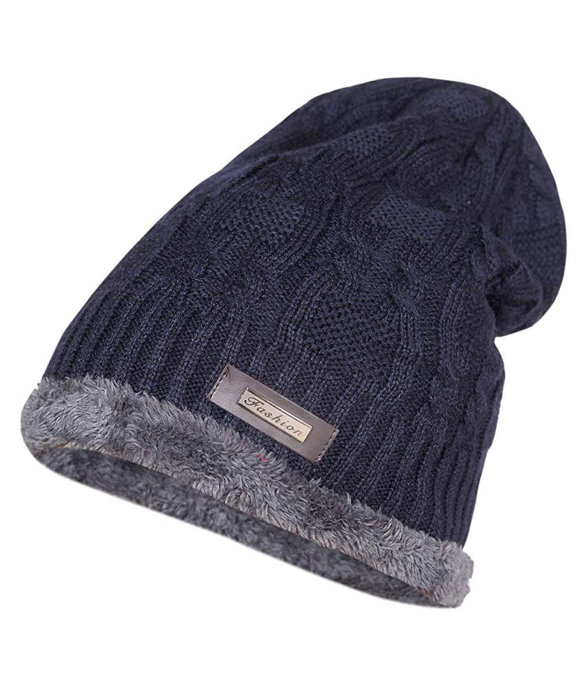Fashiol Wool Cotton Warm Winter Hat Knit Cap for Men and Women With Rabbit Wool Inside (Grey)