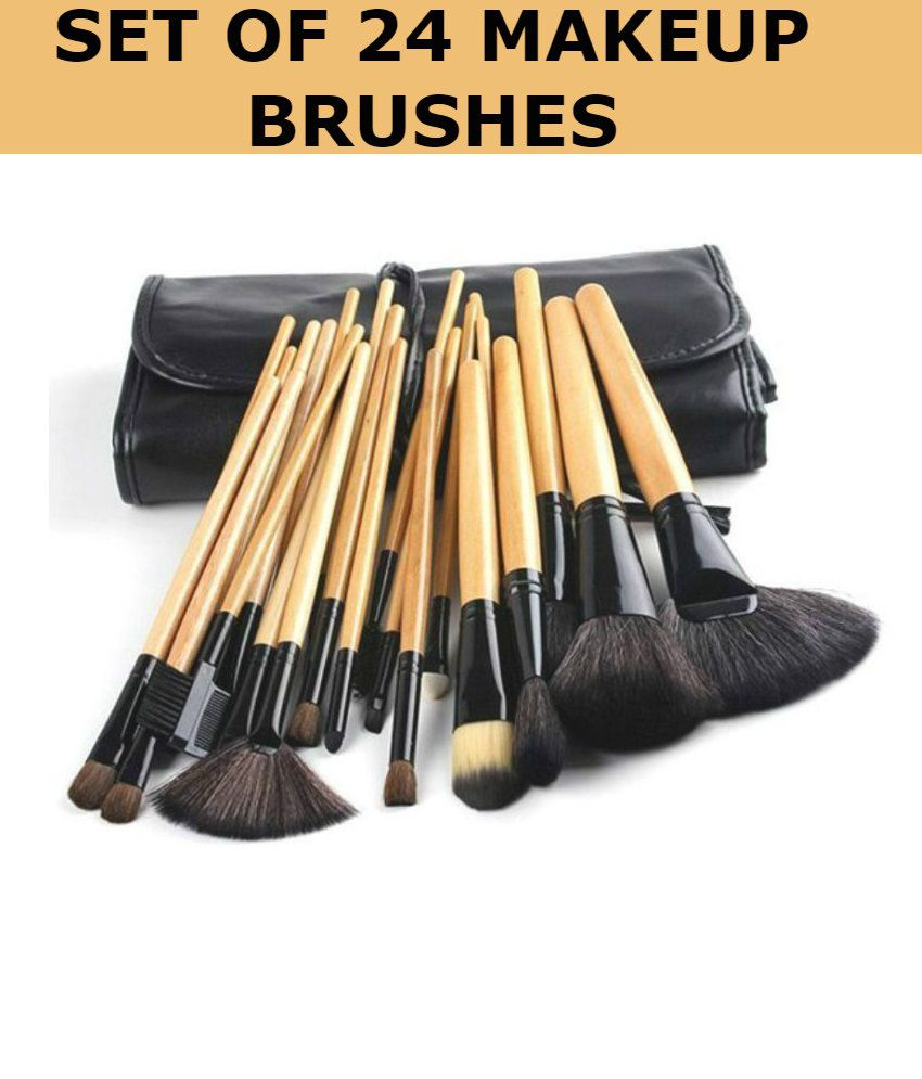 Forever 21 Professional Synthetic Makeup Brushes Set of 24 Pcs With Leather  Case