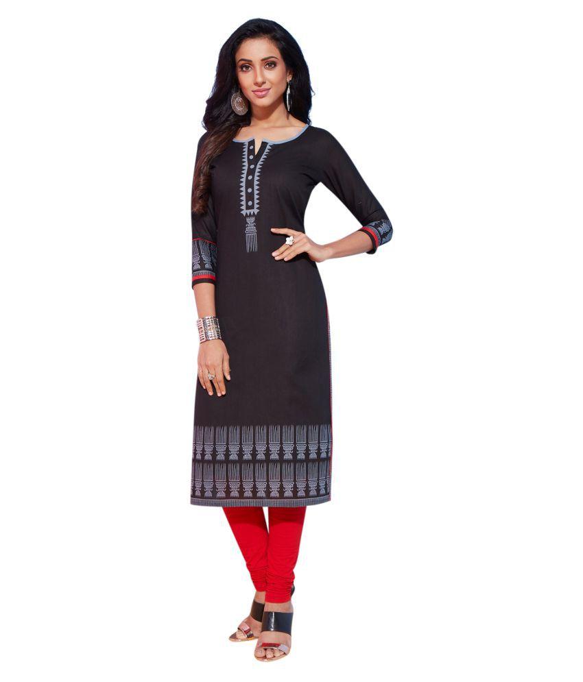 Salwar Studio Black Cotton Straight Kurti