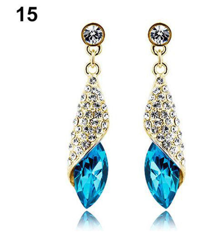 Fashion Shining Rhinestone Dangle Earrings Women Wedding Engagement Jewelry