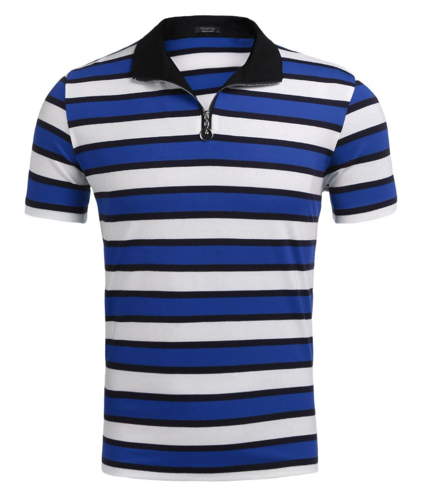 Men Stand Collar Short Sleeve Striped Casual T-Shirts Zipper Polo Shirts