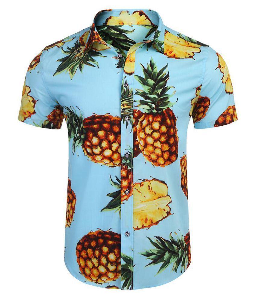 Men Turn Down Collar Short Sleeve Pineapple Fruit Printing Button Down Casual Shirt