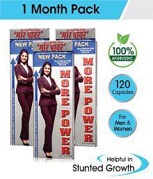 More Power Capsules 1 Month Pack, (3 Boxes, 40Caps) Ayurvedic Capsules for Men & Women