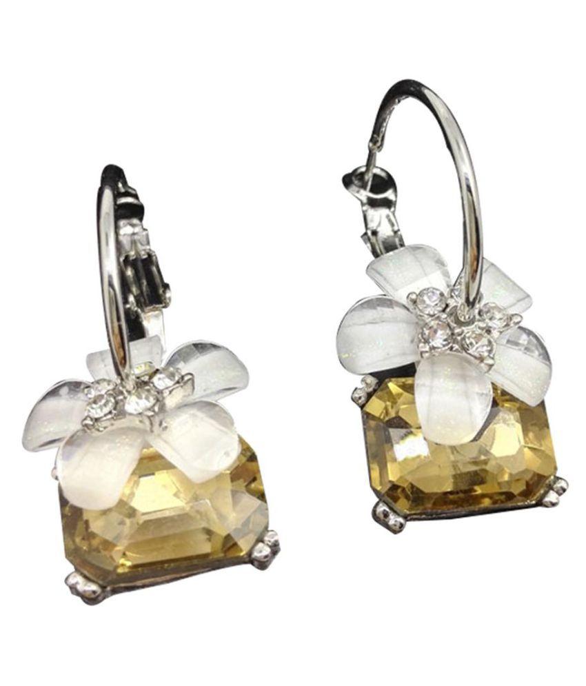 Fashion Rhinestone Sakura Hoop Earrings Flower Earring Jewelry for Women Gift