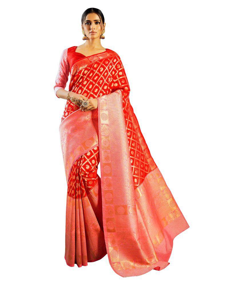 Laxmipati Red Silk Saree