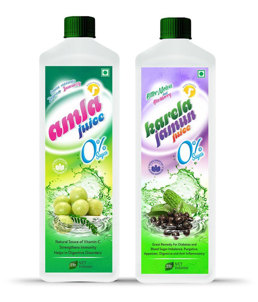 Rangelo Rajasthan Amla  & Karela Jamun Juice- Health Drink 1000 ml Pack of 2