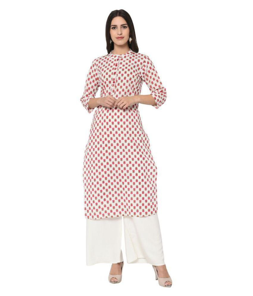 Ayan White Cotton Straight Kurti