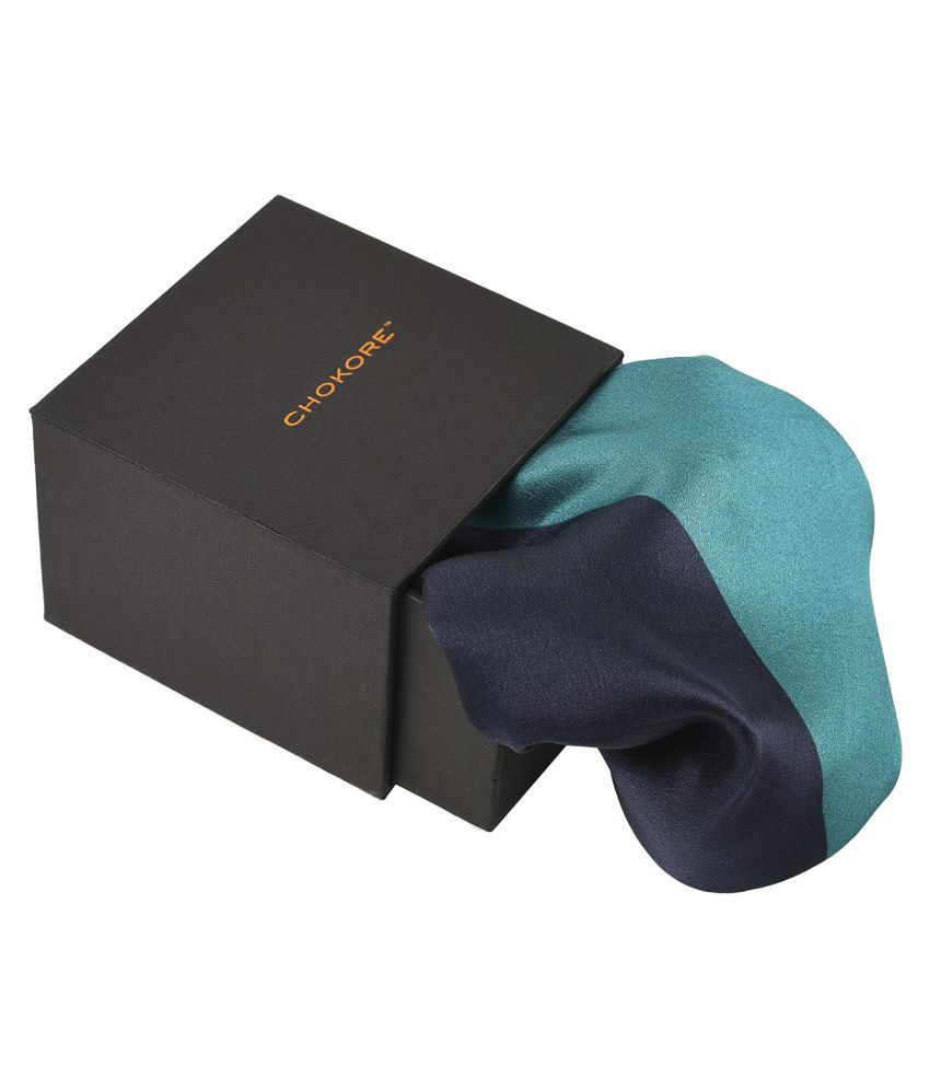 Chokore 2-in-1 Navy & Light Blue Silk Pocket Square from the Solids Line_(SL81402_53G)