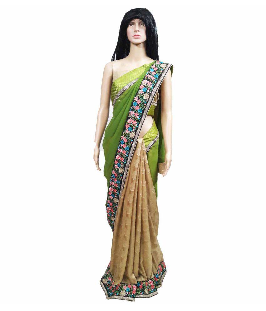 GreenViji Multicoloured Chiffon Saree