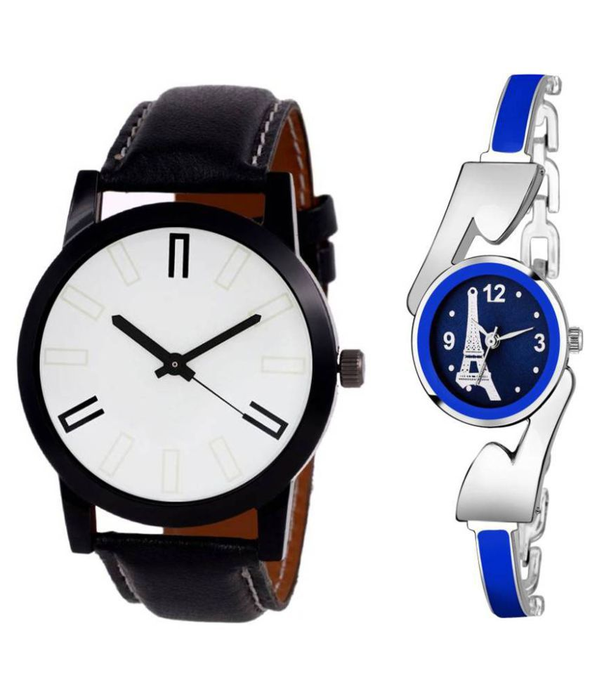 Newmen Sett Of Two Leather And Metal Strap Couple Combo Watch - For Men & Women
