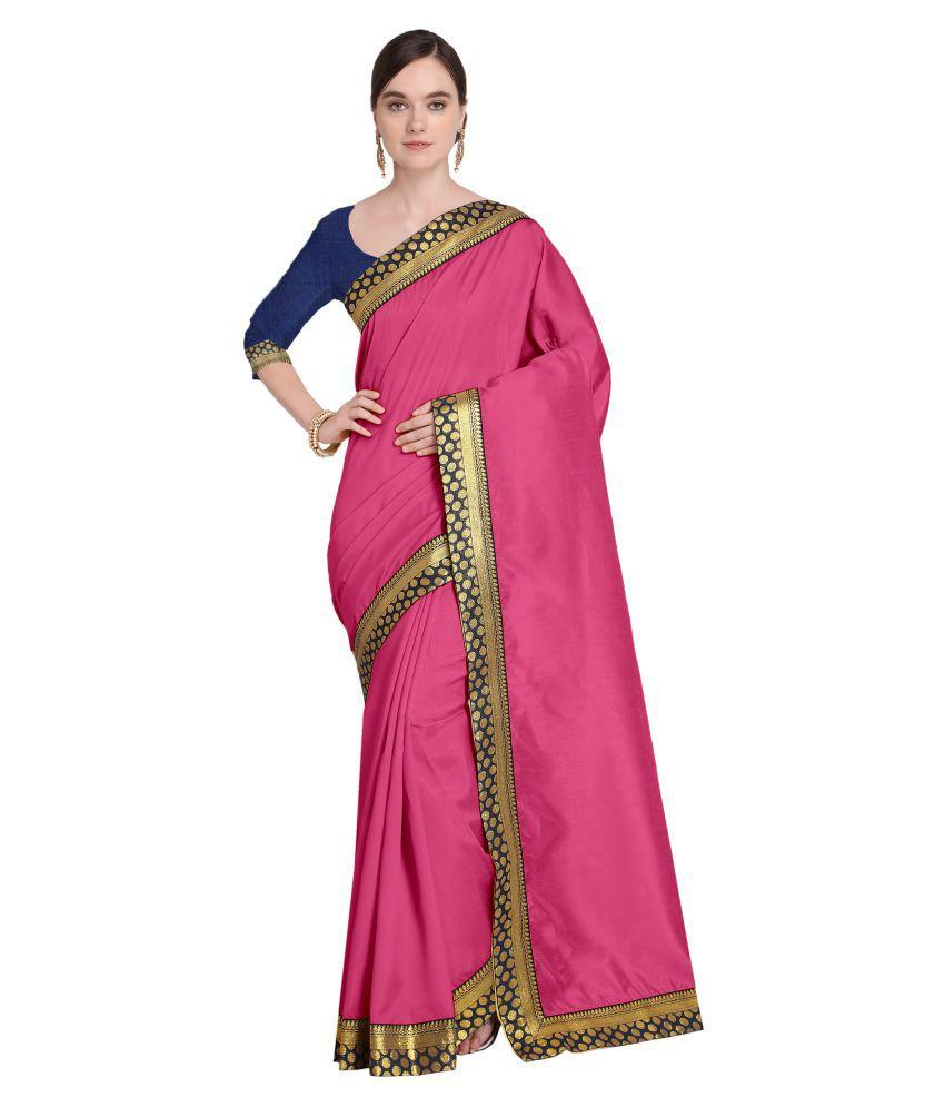 Vkaran Pink Bhagalpuri Silk Saree