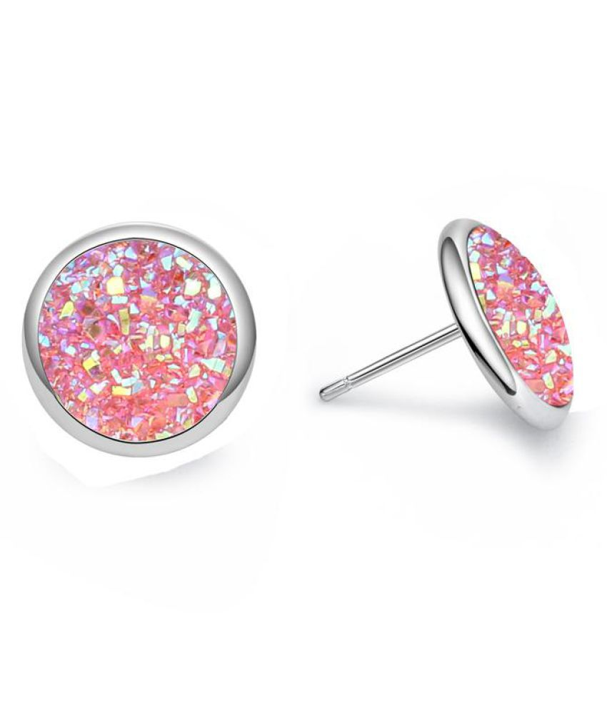 Women Fashion Round Glitter Druse Stone Ear Studs Earrings Jewelry Birthday Gift