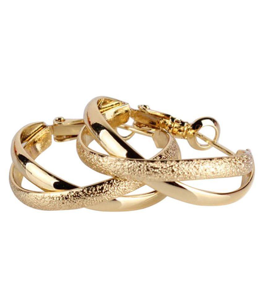 Women Vintage Hollow Geometric Cross Clip Hoop Earrings Circle Jewelry Gift