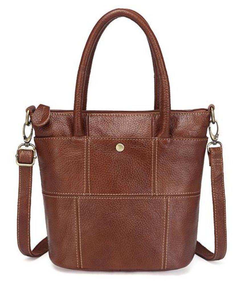 Genuine Leather Women Bucket Handbag Large Capacity Fashion Shoulder Bag