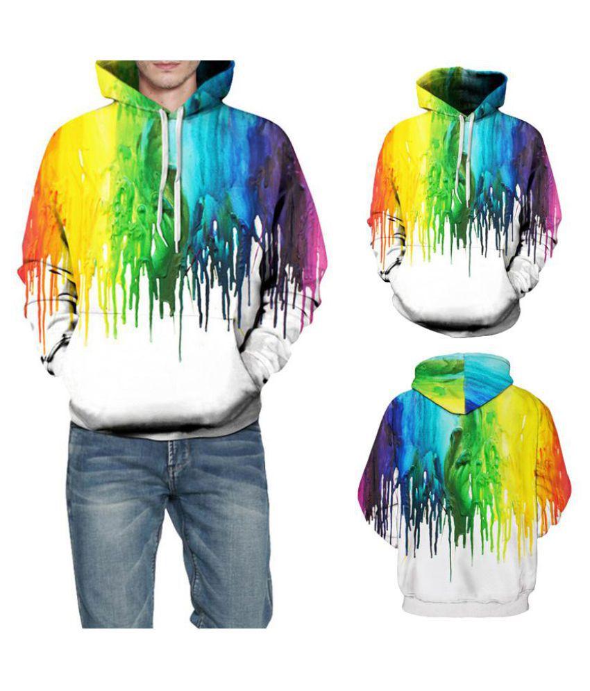 Autumn Men Women Winter Rainbow Hoodie Sweatshirt Pullover Coat Jacket Overcoat