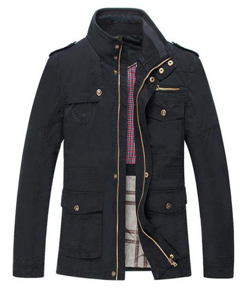 Big Size Men Outdoor Autumn Cotton Blend Zipper Cargo Coat Jacket Outwear S-5XL