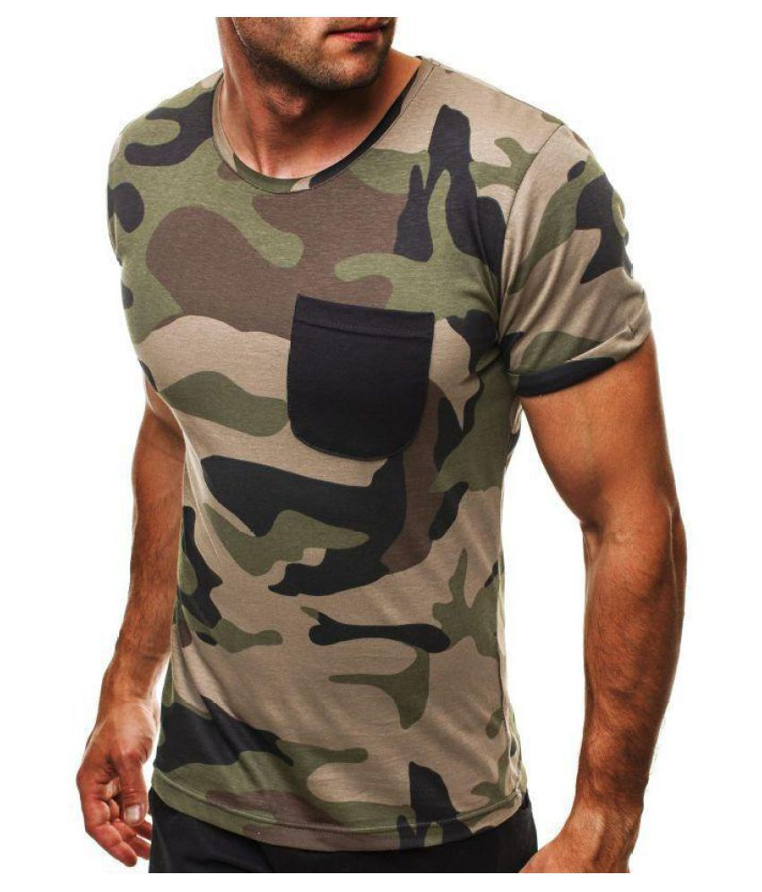US S-XL Men Camouflage Casual Camo Short Sleeve Crew Neck Pocket Tee Top Shirts