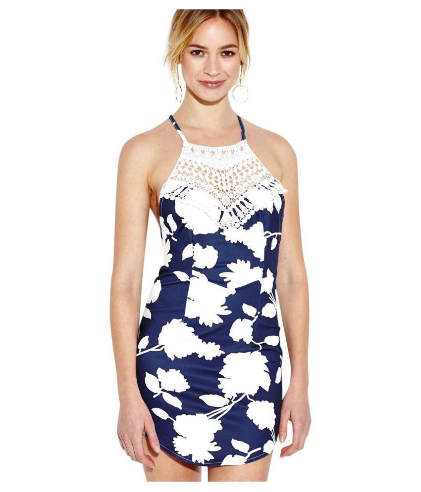 YOINS Women Lace Neck White Random Print Pattern Cross Back Blue Mini Dress