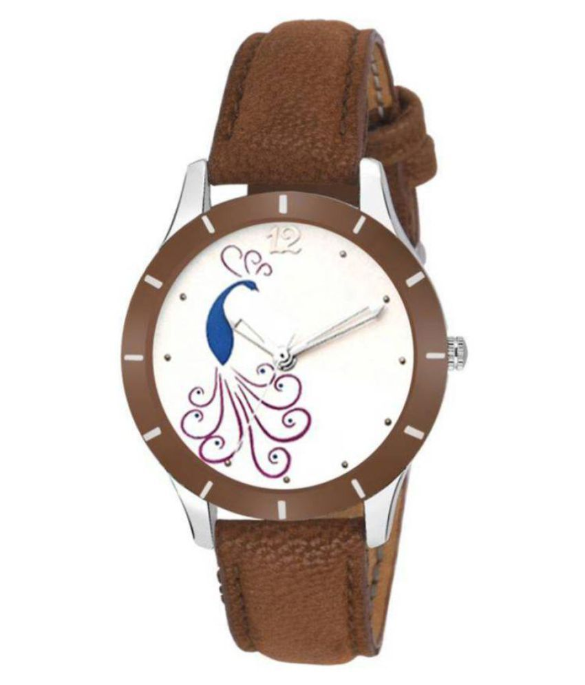Leather Round Womens Watch