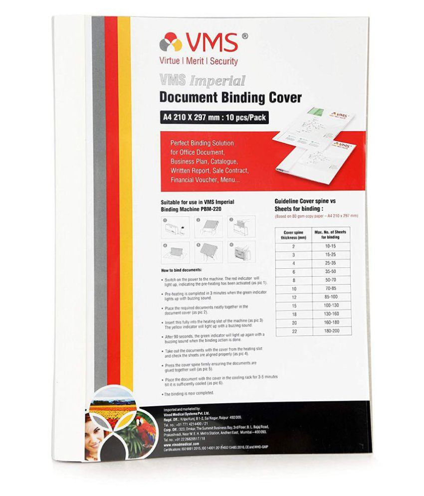VMS Imperial A4 Thermal Binding Document Cover White Paper and Transparent Plastic Cover with PVC Glue for Thermal Binding Machine (6 mm Pack of 10 Pcs