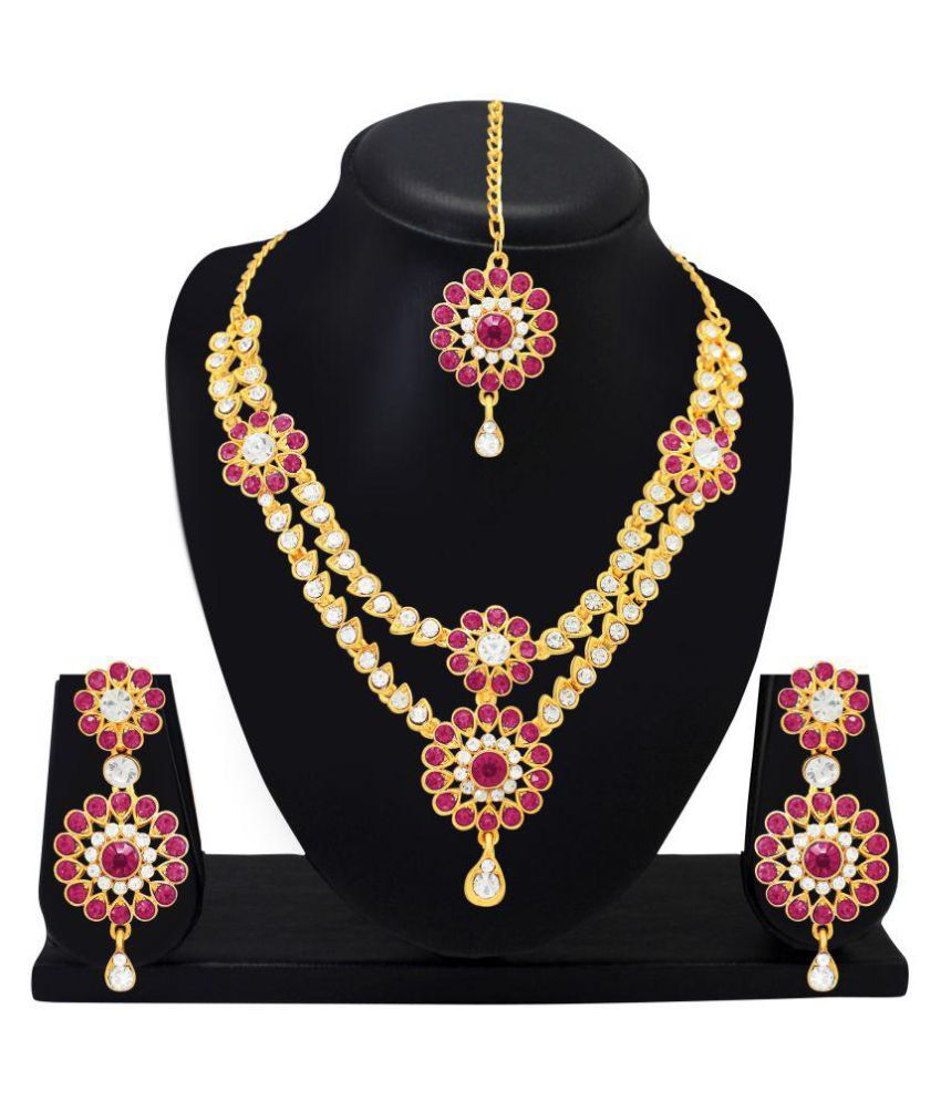 Atasi International Alloy Pink Statement Designer Gold Plated Necklaces Set