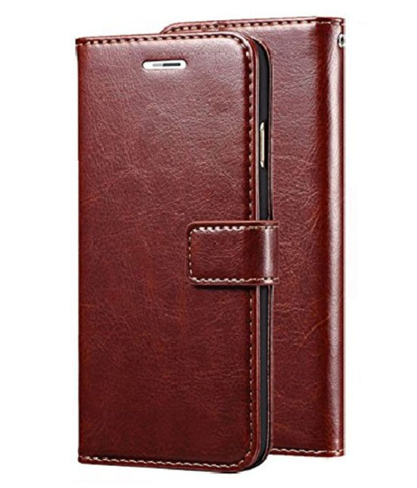 Samsung Galaxy J2 Core Flip Cover by Kosher Traders   Brown Vinatge Leather Case Cover